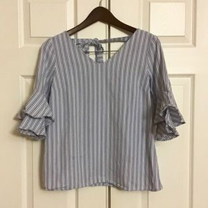 Como Vintage Striped Top with Ruffles